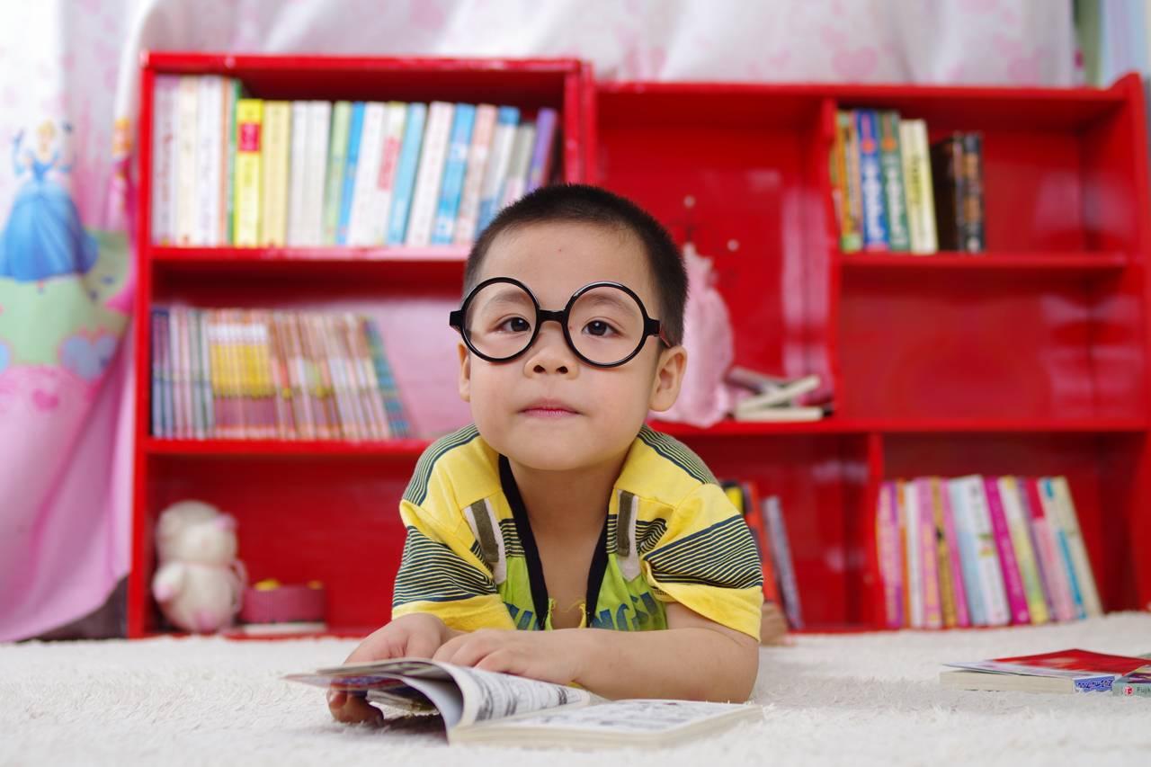 boy red bookcase