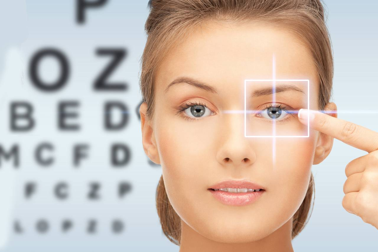 woman pointing to her eye | hamilton eye care center