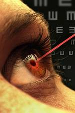 eye with laser eye exam london on