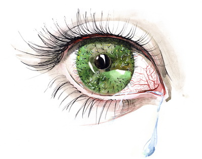 dry, red eye with tear