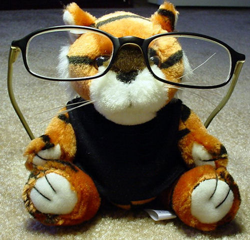 stuffed tiger wearing designer frames
