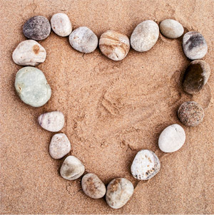 rocks in a heart shape