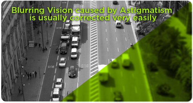 Astigmatism with partially blurred view of city street, eye doctor, Katy, TX