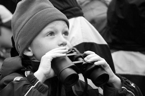 eye conditions, boy with binoculars