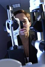 woman having a diabetic eye exam