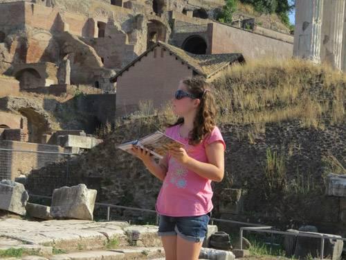 girl reading ruins