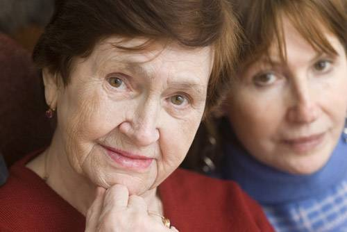 senior woman with middle aged woman