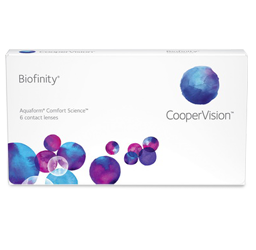 Eye doctor, box of Biofinity contact lenses in O'Fallon, Wentzville, Hillsboro, and Cottleville, MO
