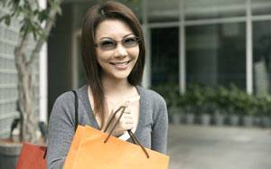 woman wearing Transitions lenses