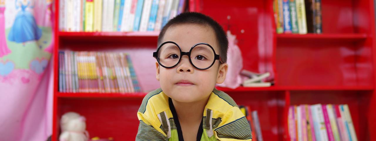 Boy wearing eyeglasses in Middle Village and Mineola, NY